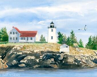 Burnt Coat Harbor Light Watercolor Print - Swan's Island, Maine Art - Lighthouse Art - Nautical Decor