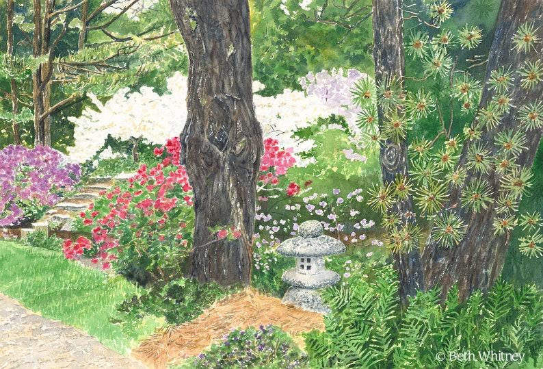Zen Garden Art Print Japanese Lantern Asticou Azalea Etsy
