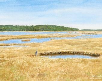 Scarborough Marsh Watercolor Art Print - Great Blue Heron - Maine Salt Marsh Painting - Coastal Wall Decor