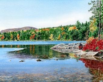Eagle Lake, Acadia Art Print - Maine Watercolor Painting - Fall Foliage Art - Local Maine Artist - Bar Harbor Gifts