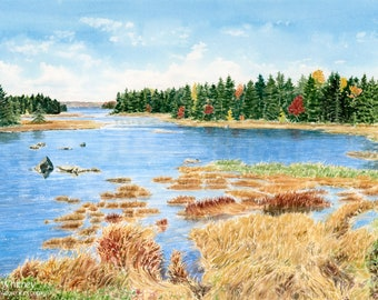 Mt Desert Narrows, Maine Watercolor Art - Acadia National Park - Fall Painting - Scenic Maine Seascape