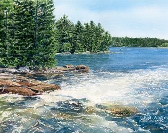 Goose Falls, Harborside - Maine Landscape Watercolor - Whitewater Rapids - Maine Gifts - Coastal Wall Art - Holbrook Island Sanctuary