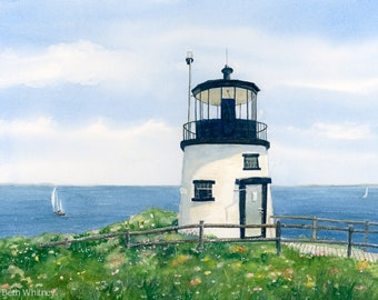 Owls Head Light Watercolor Painting - Rockland, Maine Lighthouse Art, Colorful Nautical Print - Penobscot Bay - Maine Art Print