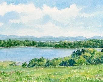 Morgan Bay, Maine Watercolor Print - Surry, Maine Gifts - Acadia Wall Art - Coastal Maine Decor