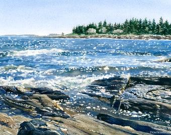 Pemaquid Sparkles, Maine Watercolor Art Print - Pemaquid Point, Maine Gifts - Coastal Wall Decor