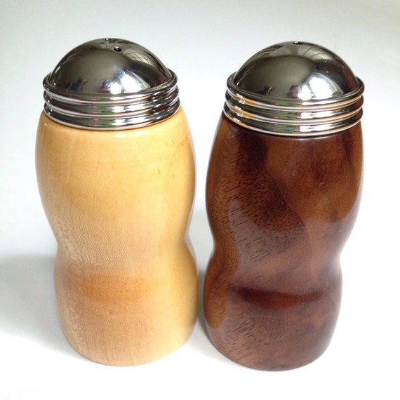 Salt and Pepper shakers hand turned wood