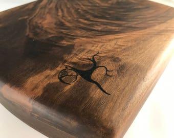 Cutting Board solid Black Walnut Burl wood