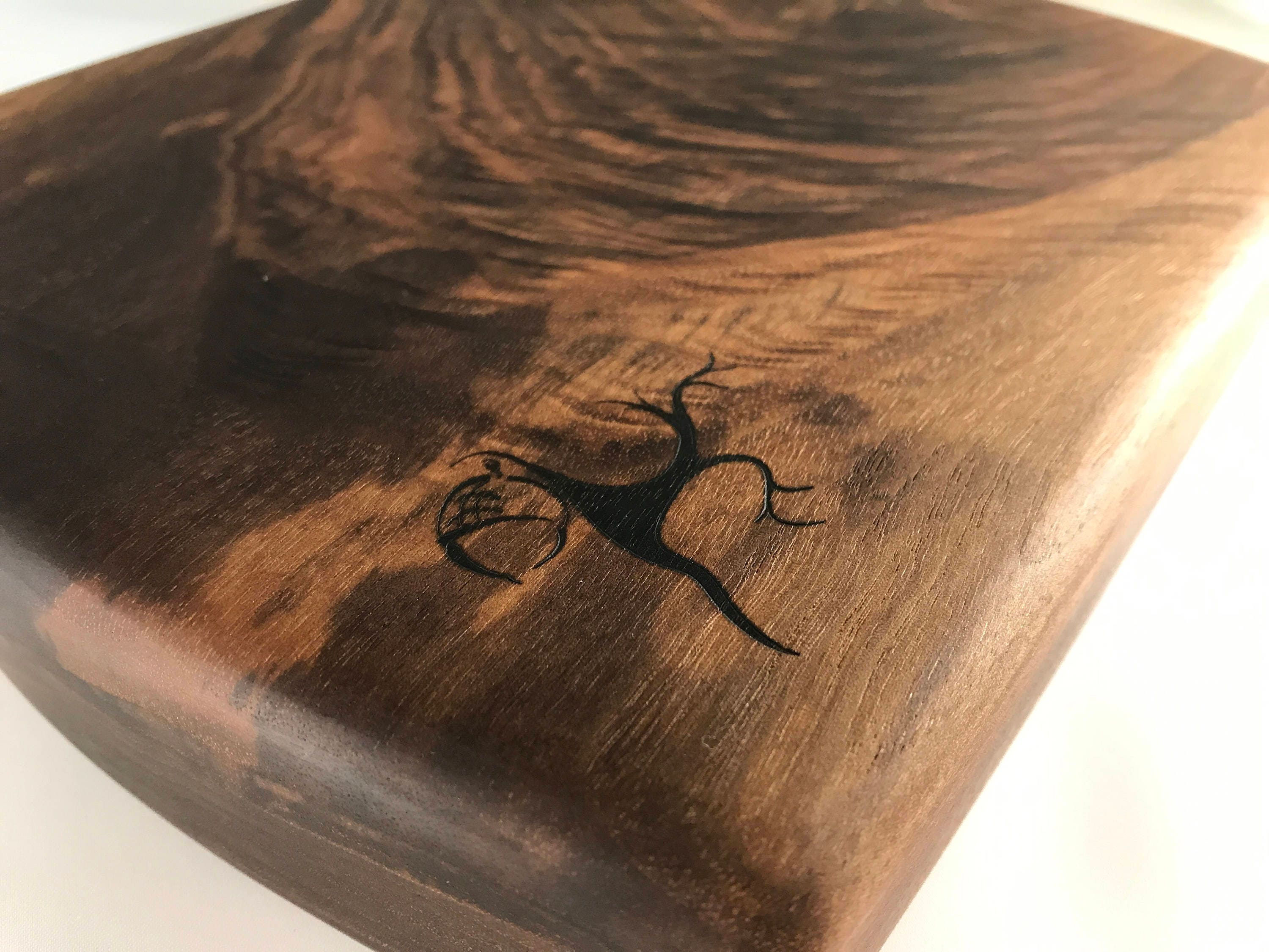Cutting Board Solid Black Walnut Burl Wood