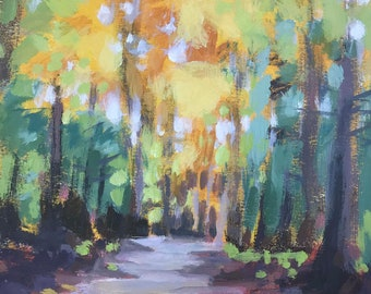 """Original painting on paper, Maine landscape, Sunlit trees, Yellow trees, Forest, Path, """"Autumn Rhythms"""""""
