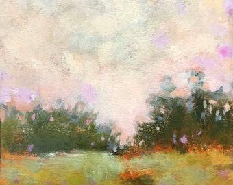 "Maine landscape, foggy, trees ""Glow"""