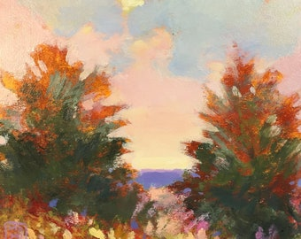 """Trees, evergreens, clouds, Maine landscape """"Solar Flare"""""""