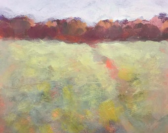 """Original painting on paper, Maine landscape, Trees and open field, """"What Comes Next"""""""