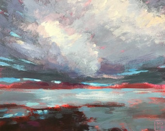 """Maine, Seascape, Clouds, Weather, """"Storm Offshore"""""""