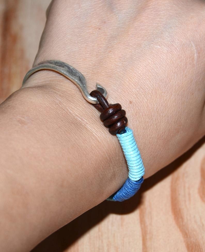 thick silver filled tube bracelet-cotton cord knotted bracelet-blue tone bracelet-hand made braccelet-leather cord bracelet-stylish bracelet