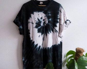 Organic Cotton Tee, Black Tie-Dye Shirt, indie, festival, hippie, tumblr