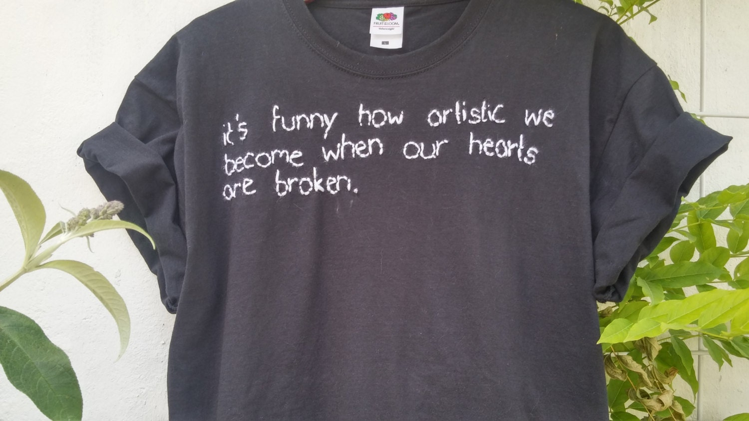 Organic Cotton Tee Tumblr Shirt Stitched Quote Artistic Hearts Pale