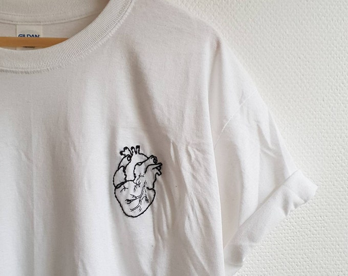 Featured listing image: Organic Cotton Tee, Stitched Heart Tumblr Shirt, indie, grunge, blogger shirt