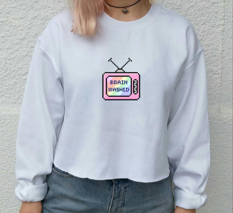 b846e57fef71 Brainwashed Pixel Tumblr TV sweater indie grunge festival