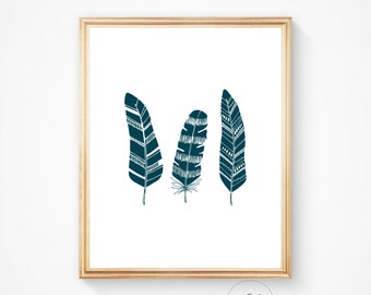 Teal feather print, feather wall art, feather art, feather print, dark teal print, printable wall art. Digital print, teal home decor.