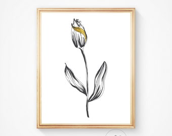 Black and white art, Black white print, Instant download, Modern art, Wall art prints, Wall decor, Black and white, Tulip print Flower print