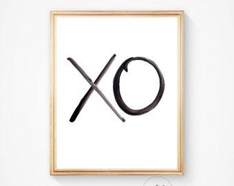 XO Print, Wall prints, Typography art, xo art, Printable art, Hugs and Kisses, Minimalist Print, wall art, Instant download, Black and White