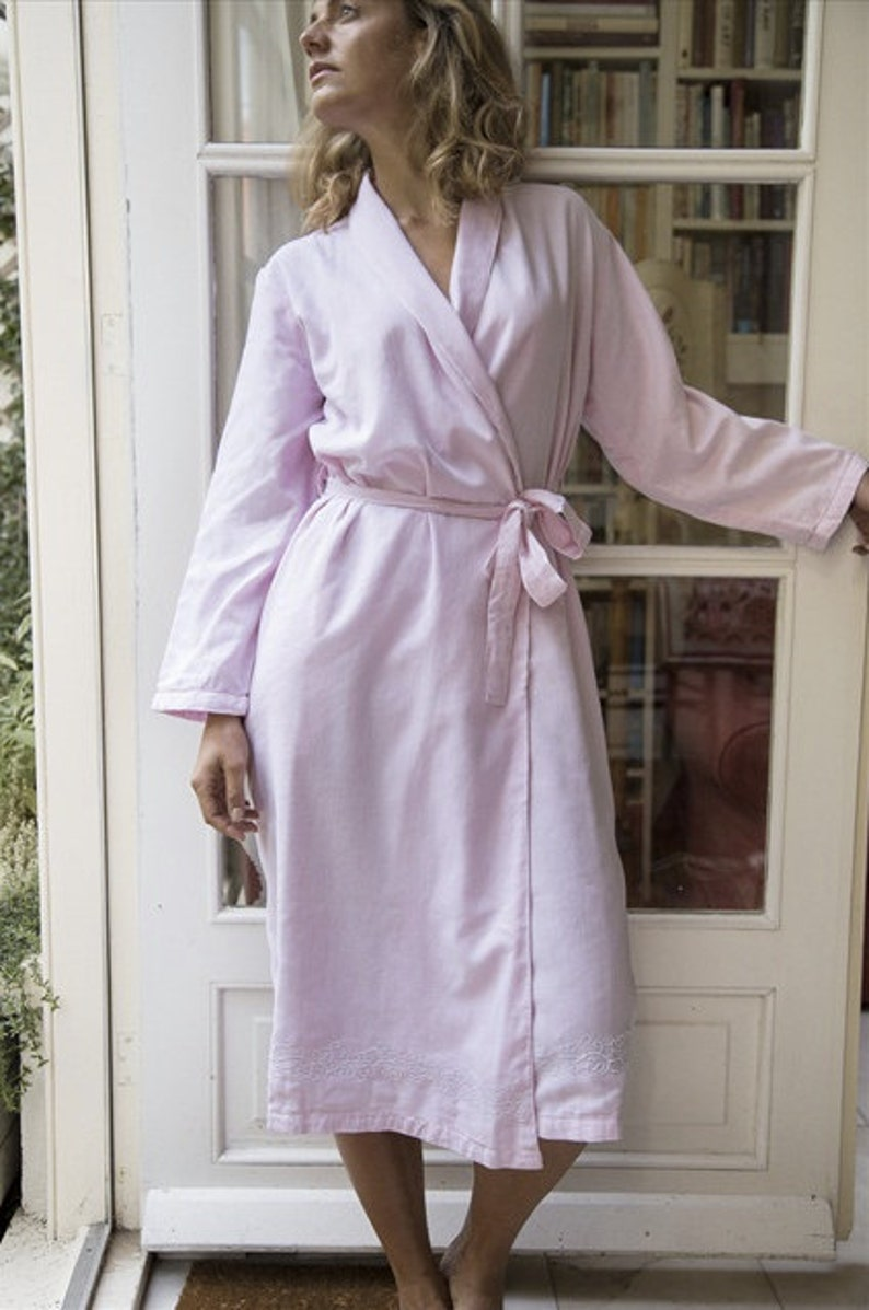 Pink Robe for Women | 100% cotton, handmade, light & soft Dressing Gown |  Khasto - the cotton cashmere