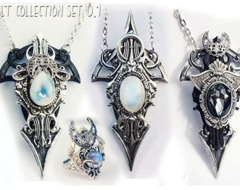 Exclusive occultism collection set 0.1 - unisex pendants + ring. Gothic jewelry for men and women. Occult jewelry