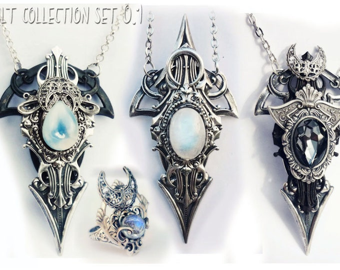 Featured listing image: Exclusive occultism collection set 0.1 - unisex pendants + ring. Gothic jewelry for men and women. Occult jewelry