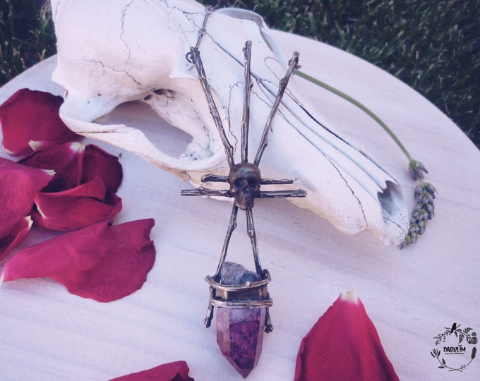Featured listing image: Pagan witch pendant. unisex 925 silver natural hybrid quartz.Talisman of the hidden world
