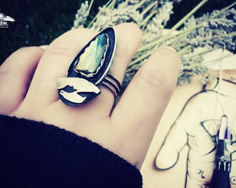 Always the crow. 925 silver ring, with labradorite unique colors. size 7 Gothic rings