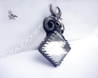Darkness. Piramide quartz rock hanging ram. unisex unique 925 silver design. Gothic jewelry of sorcerers. wiccan occultism