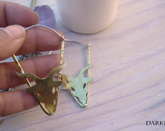 Brass earrings triangle head of ram,hoop earrings hammered triangle shape