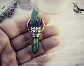 Chiromancy necklace bullet agate moss sterling silver unisex. magic jewelry, witches and sorcerers