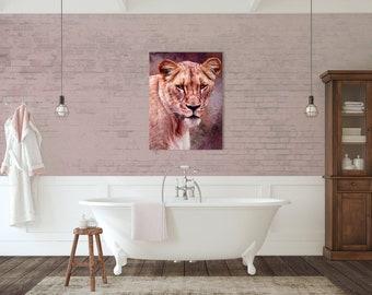 Pet Portrait Print, Printable Wall Art, Pet Illustration, Print Gift, Printable Lion Portrait, Gift For Animal Lovers