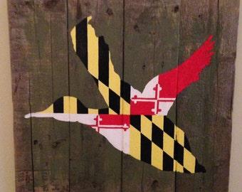 Maryland Flag Duck Pallet Art