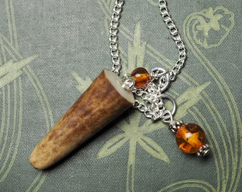 Stag Antler & New Amber Pendulum for divination- Pagan, Wiccan, Witchcraft