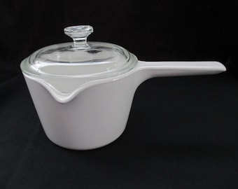 Vintage, Corning Ware, M-68, White, Double Spouted Sauce Pot, Dual Spouted Saucepan, 1 Quart, with Original Lid. 1970's