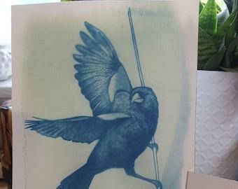 Red Winged Blackbird Cyanotype