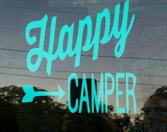 Happy Camper Decal/ adhesive decal/ sticker/ we love camping/ car decal/ camper decal/ camping decal