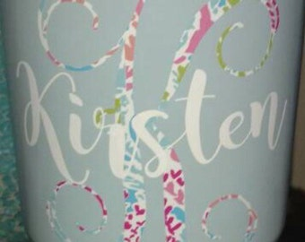 Monogram Decals / lily inspired decal / yeti decal / Decals / cup decal / monogram decal / car decal