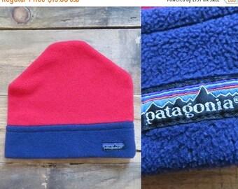 Vintage Patagonia winter hat. Red blue hat. Outerwear. Ski hat. Fleece winter  hat.Made in Canada. b54ceebfe00b