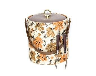 Vintage ice bucket with ice tongs. Bar accessories. Retro barware.