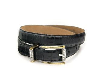 Vintage black leather belt. Genuine leather. Boho hippie. Made in U.S.A by Talbots. Womens belt medium.