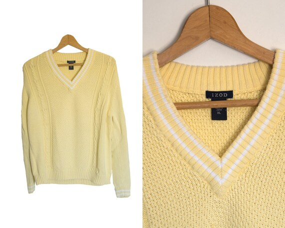 233356b1e2 Vintage IZOD sweater. Yellow white Vneck sweater. Womens