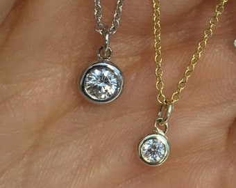 Dainty Minimalist Bezel Set Diamond on a Chain VS2 F Dangling Free Slide Pendant 14K Italian Gold Chain