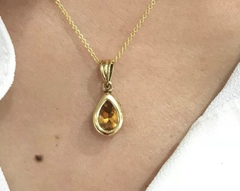 Bezel Set Pear Cut Citrine Necklace in 14K Yellow Gold with 18 inch Chain by Luxinelle