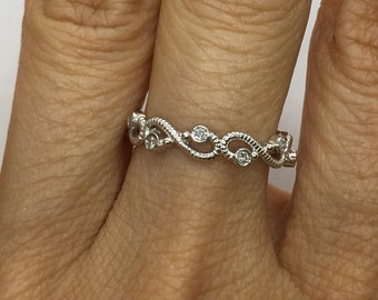 10 Diamond Infinity Twist Vine Band - 14K White, Yellow or Rose Gold by Luxinelle 399 Specials