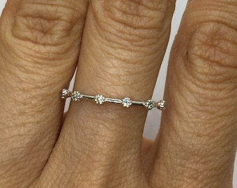 6 Diamond Spaced Band in 14K White, Yellow Or Rose Gold - Diamond Stacking Ring by Luxinelle 299 Specials