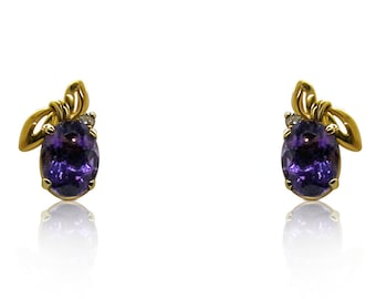 Oval Amethyst and Diamond 14K Yellow Gold Stud Earrings by Luxinelle