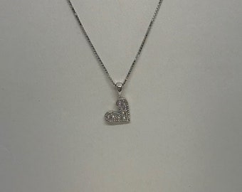 Pave Diamond Heart on a Chain 14K White Gold Chain Heart Charm 14K Rose, White and Yellow Gold Options